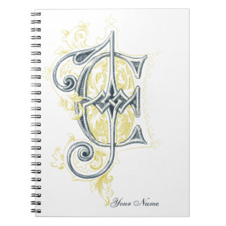 EJ or JE Vintage Monogram in Blue and Yellow Note Book