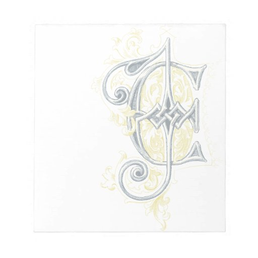EJ or JE Vintage Monogram in Blue and Yellow Notepad