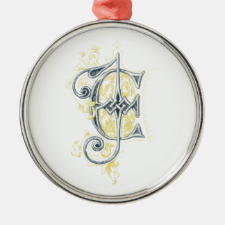 EJ or JE Vintage Monogram in Blue and Yellow Christmas Tree Ornaments