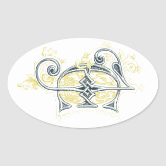 EJ or JE Vintage Monogram in Blue and Yellow Oval Sticker