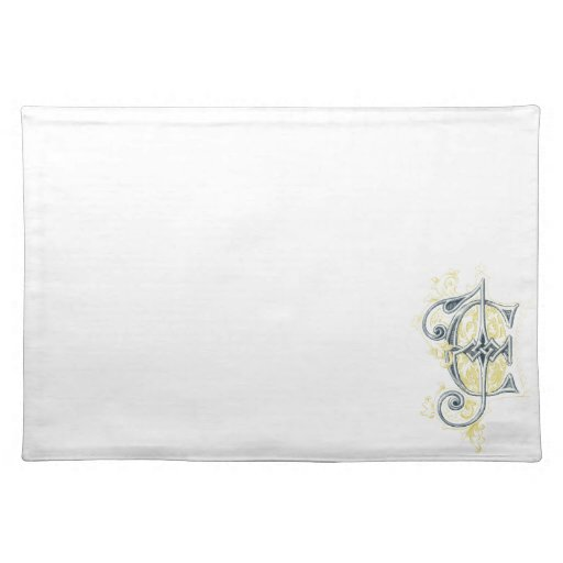 EJ or JE Vintage Monogram in Blue and Yellow Place Mats