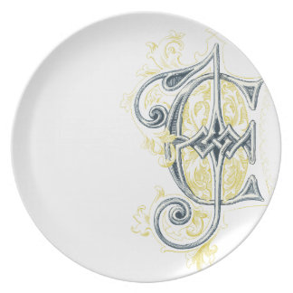 EJ or JE Vintage Monogram in Blue and Yellow Plate