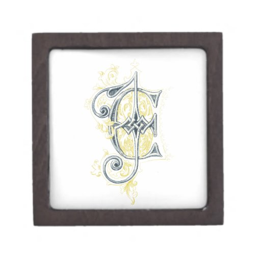 EJ or JE Vintage Monogram in Blue and Yellow Premium Gift Box