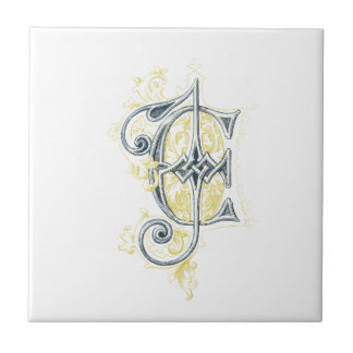 EJ or JE Vintage Monogram in Blue and Yellow Ceramic Tiles