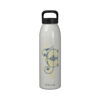 EJ or JE Vintage Monogram in Blue and Yellow Reusable Water Bottle