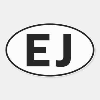 EJ Oval Identity Sign Oval Sticker