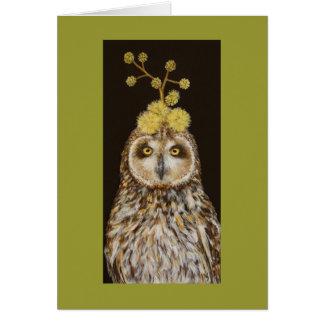 Ekewaka the pueo owl with acacia kona hat card