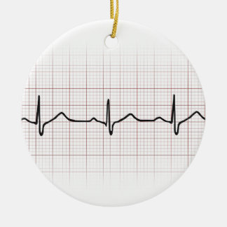 EKG heartbeat on graph paper, PhD (doctor) pulse Ceramic Ornament