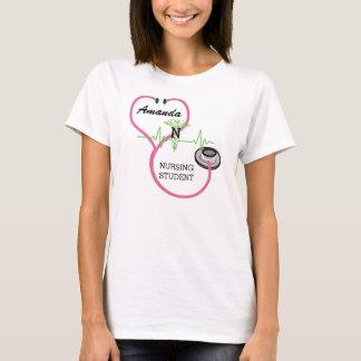 EKG Pink Stethoscope Caduceus Nursing Student Name T-Shirt