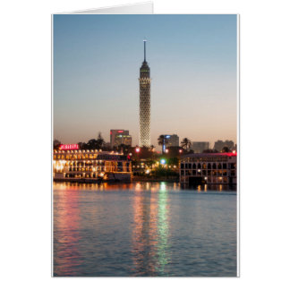 El Borg Tower at Dusk, Cairo, Egypt Card