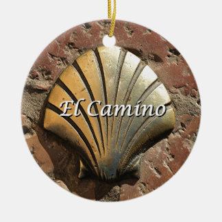El Camino gold shell, Leon (caption) Ceramic Ornament