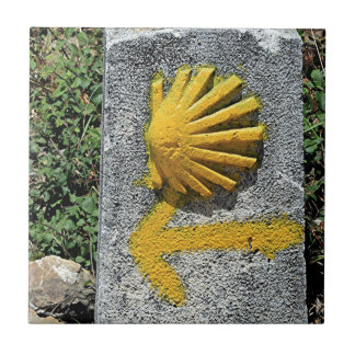 El Camino shell and arrow sign, Spain Tile