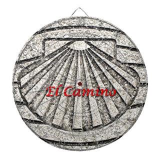 El Camino shell, pavement, Spain (caption) Dartboard