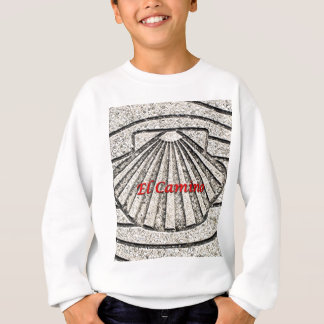 El Camino shell, pavement, Spain (caption) Sweatshirt