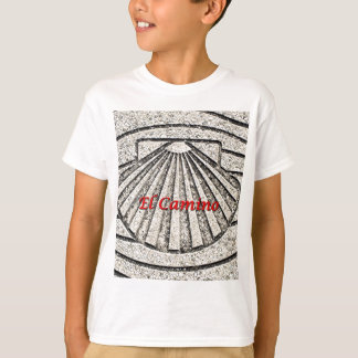 El Camino shell, pavement, Spain (caption) T-Shirt