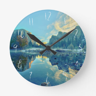 El Capitan and Three Brothers Reflection Round Clock