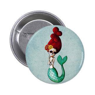 El Dia de Muertos Mermaid 2 Inch Round Button