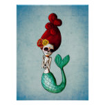 El Dia de Muertos Mermaid Poster