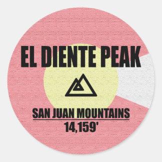 El Diente Peak Classic Round Sticker