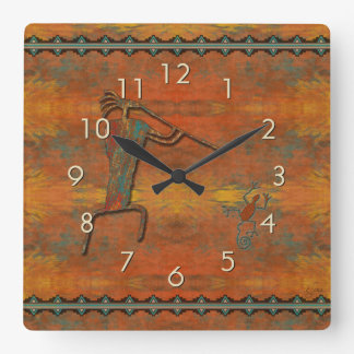 El Flautista (The Flute Player) Square Wall Clock