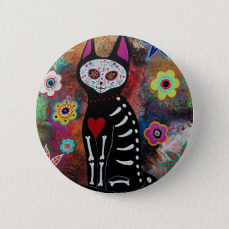 El Gato Day of the Dead Painting by Prisarts 2 Inch Round Button