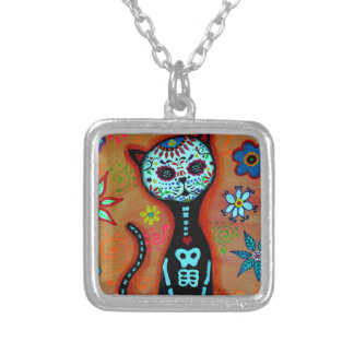 EL GATO DIA DE LOS MUERTOS CAT PAINTING SILVER PLATED NECKLACE
