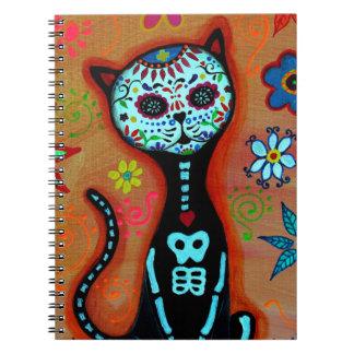 EL GATO DIA DE LOS MUERTOS CAT PAINTING SPIRAL NOTEBOOK