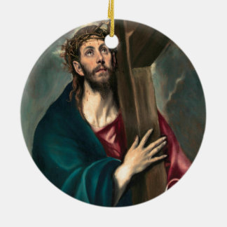 El Greco Christ Carrying the Cross Round Ceramic Ornament