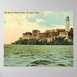El Morro from the Sea, Havana, Cuba 1913 Vintage Poster