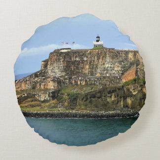 El Morro Guarding San Juan Bay Entrance Round Pillow