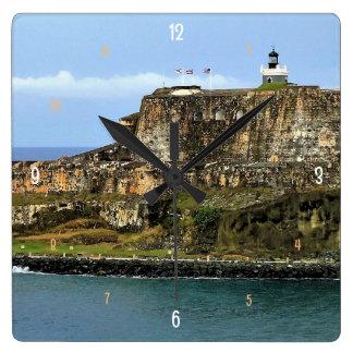 El Morro Guarding San Juan Bay Entrance Square Wall Clock