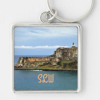 El Morro Guarding San Juan Bay Monogrammed Keychain