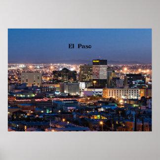 El Paso, Texas at Night Poster