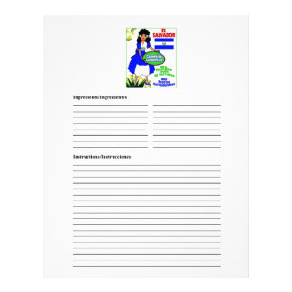 El Salvador blank casserole recipe cards Personalized Letterhead
