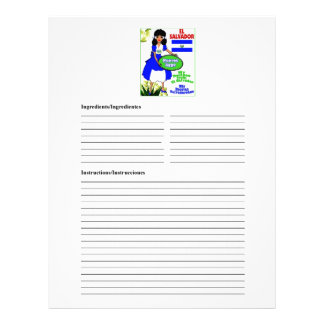 El Salvador blank egg recipe cards Customized Letterhead