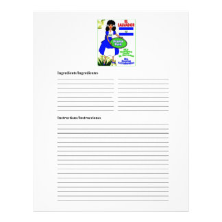 El Salvador blank pork recipe cards Letterhead Design