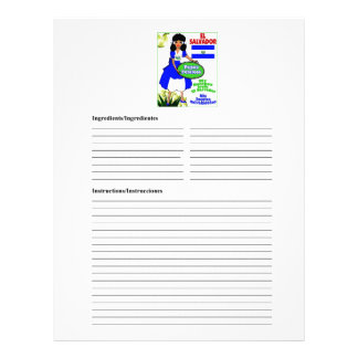 El Salvador blank potatoes recipe cards Custom Letterhead
