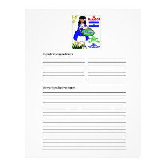 El Salvador blank vegetarian recipe cards Letterhead Template