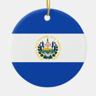 El Salvador Flag Ceramic Ornament