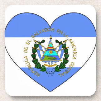 El Salvador Flag Heart Beverage Coasters