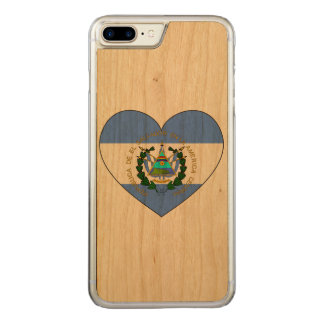 El Salvador Flag Heart Carved iPhone 7 Plus Case