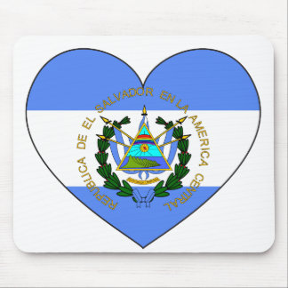 El Salvador Flag Heart Mouse Pad