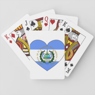 El Salvador Flag Heart Playing Cards