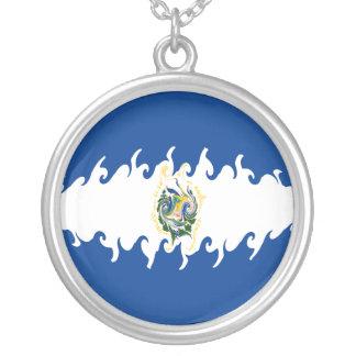 El Salvador Gnarly Flag Round Pendant Necklace