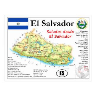 El Salvador Map Postcard