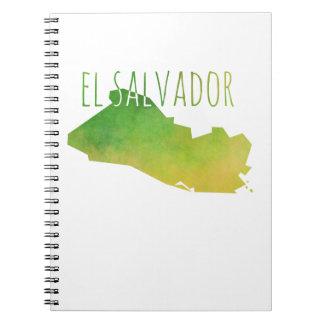El Salvador Map Spiral Note Books