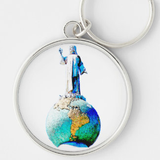 El Salvador of the world Silver-Colored Round Keychain