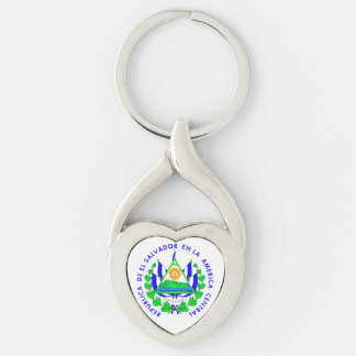 El Salvador shield Silver-Colored Twisted Heart Keychain