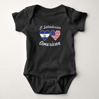 El Salvadorian American Flag Hearts Baby Bodysuit
