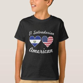 El Salvadorian American Flag Hearts T-Shirt